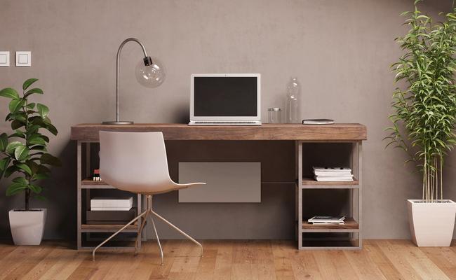 Eine Schreibtischheizung im Wohnzimmer